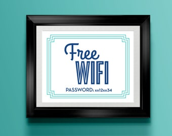 Custom Home Decor- Free Wifi with Password Printed Sign
