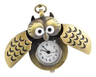 Antique Bronze Owl Watch Locket Pendants - 26x40mm