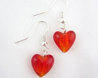 Red glass heart earrings, heart earrings, red earrings, red glass earrings, red heart earrings - sold in pair