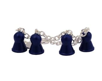 Ludo blue bracelet of recycled board game, dangle bracelet, charm bracelet, chain bracelet- adjustable bracelet