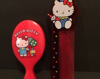 Vintage Hello Kitty comb and mirror set