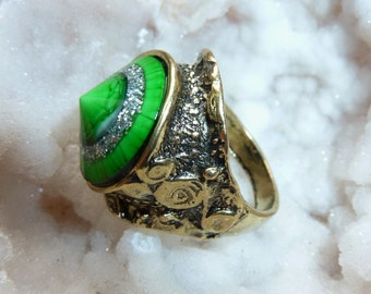 Brass Ring with Green Stone