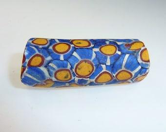 African Trade Bead, Antique African Millefiori Glass-Bead, Trade Bead, blue-yellow bead,
