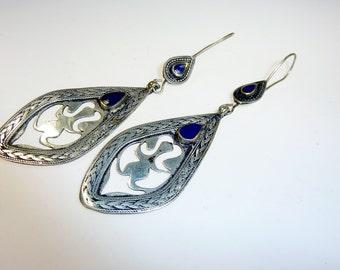 Tribal Earrings with Lapislazuli Stones, Afghani Earrings, Nomad Earrings,Hippie Earrings