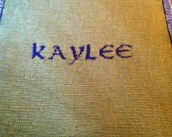 Knitted personalized baby blanket