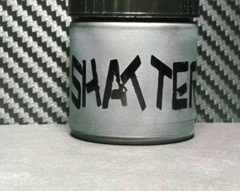 Custom Etched with Shatter with Warning on Pocket Size Amber Stash Glass Jar Air tight
