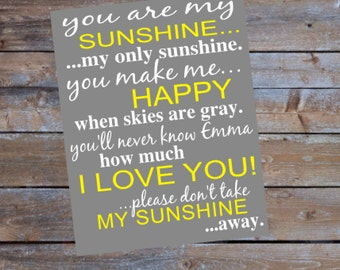 Personalized You Are My Sunshine Printable Sign with Your Name Nursery Printable Instant Download File Nursery Decor Wall Art Custom