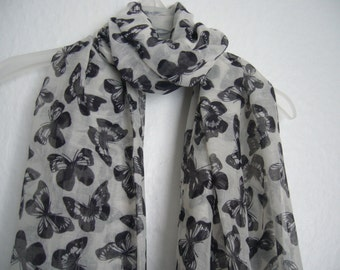Butterfly Scarf, White And Black Butterfly, For Her, Spring- summer Accessory, Scarf, Fashion Accessory