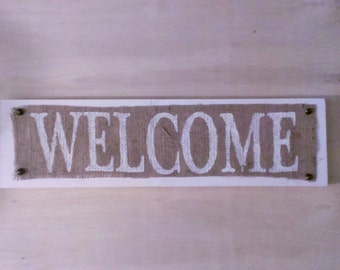 Wood Burlap Welcome Sign