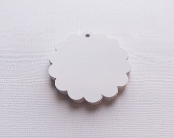 25 White Scallop Circle Hang Tags, Gift Tags, Party Favor - 2""