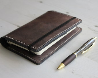 Pocket Leather Notebook Cover in Slate Grey