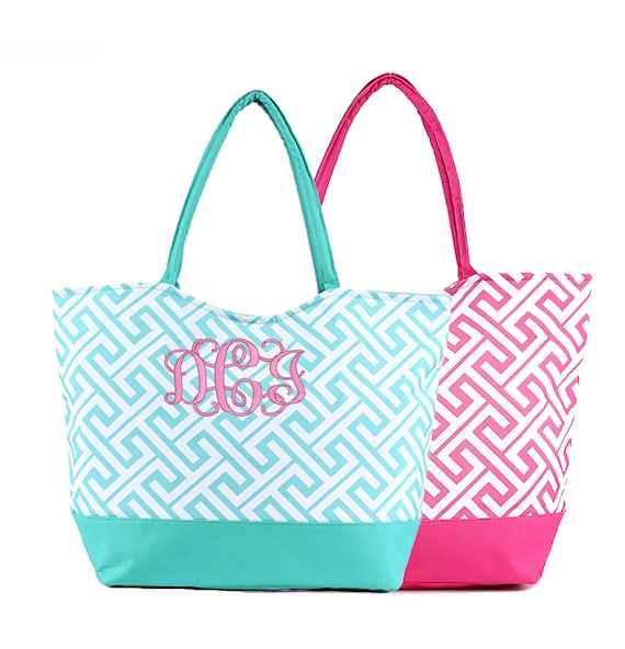 Monogrammed beach bag personalized bridesmaid