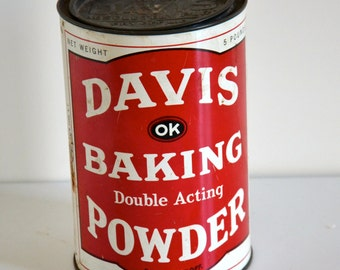 Vintage red Baking powder pot