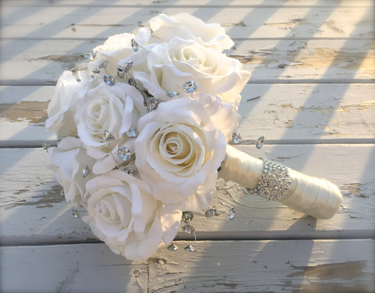 Bridal Flowers With Bling : Bling bouquet bridal artificial