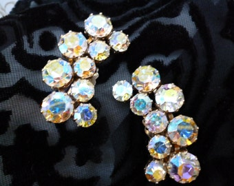 Vintage Kramer Aurora Borealis rhinestone clip earrings