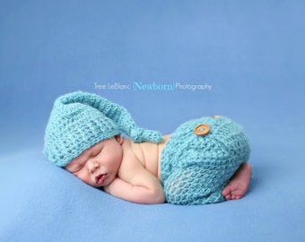 Newborn Stocking Hat and Pant Set- Newborn Props - Baby Boy - Sleeper Set - Stocking Hat -Bum flap Pants and Hat - Pick your Color - Newborn