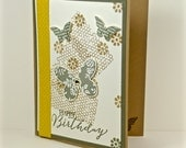 Happy Birthday Handmade Card Featuring Honeycomb, Flowers And Butterflies
