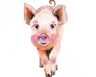 piglet original watercolor painting piglet pig painting farm animal painting nursery wall art size 21x15cm(8.27x5.90inch)