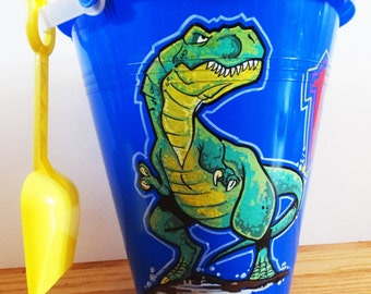 Dinosaur Bucket  basket Personalized & Hand Painted