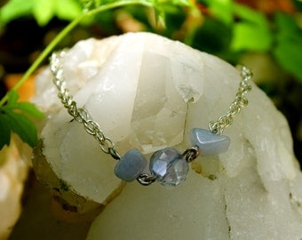 Crystal and Raw Aquamarine Chain Braclet