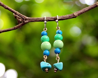 Sterling Silver Green and Blue Agate and Marble Earrings