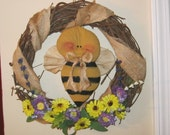 Bumble Bee Wreath - Bee Wreath - Grapevine Wreath - Spring and Summer