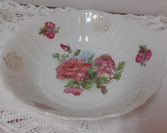 antique vintage china serving bowl with large pink cabbage roses