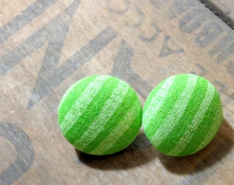 Lime Green Stripes Fabric Button Earrings: 3/4 Inch