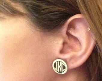 Monogrammed Disc Earrings