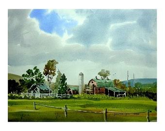 Chemung Farm, original watercolor