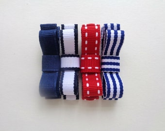 Baby Hair Bow Clips - Red, White, Blue