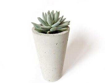 Urban Modern Concrete Gray Tall Planter Pot Cup Home Decor Minimalist Simple