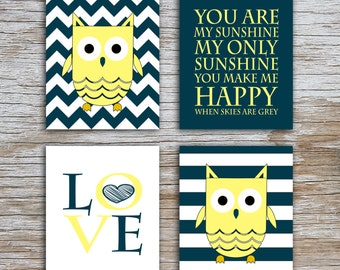Kids (D) - You Are  My Sunshine - Owl - Dark Teal Yellow - 4 Parts