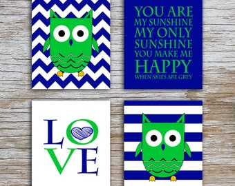 Kids (D) - You Are  My Sunshine - Owl - Navy Green - 4 Parts