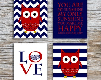 Kids (D) - You Are  My Sunshine - Owl - Navy Red - 4 Parts