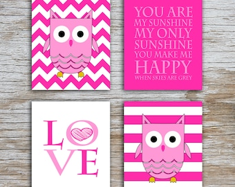 Kids (D) - You Are  My Sunshine - Owl - Pink - 4 Parts