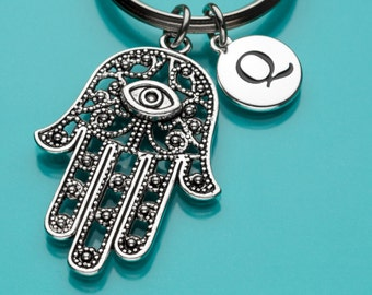 Hamsa Keychain, Hamsa Key Ring, Hand of Fatima, Evil Eye, Initial Keychain, Personalized Keychain, Custom Keychain, Charm Keychain, 197