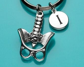 Pelvis Keychain, Pelvis Skeleton Key Ring, Anatomical Pelvis, Initial Keychain, Personalized Keychain, Custom Keychain, Charm Keychain, 309