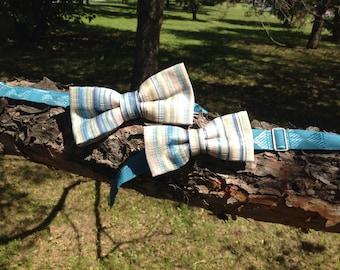 duo cream bow tie, blue, aqua and green