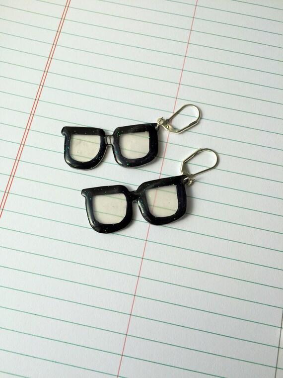 nerdy glasses earrings black acrylic bandage by