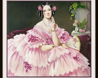 Avon Calendar Print (1982): Romantic Era Southern Belle, Fashion History 1850s, Frameable Wall Art, Pink Dress Fan, Roses, Costume Reference