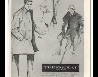 "Vintage Print Ad September 1962 : Treemcoat by Climatic Clothing Wall Art Decor 8.5"" x 11"" Print Advertisement"