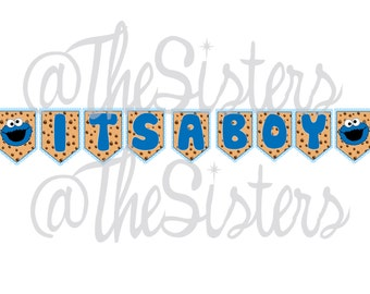 Its a boy Cookie Monster banner
