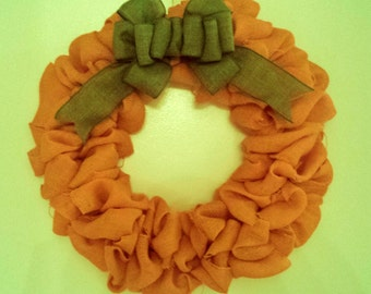 Burlap Pumpkin; Burlap Wreath; Fall Wreath; Fall Decor; Fall burlap wreath; Front door wreath; pumpkin wreath, Fall Pumpkin