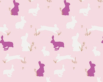 Pink Bunny Rabbit Cotton Fabric, Bunnies By the yard,  Anna Elise, Art Gallery, Binkies Fluff Metallic Gold, Quilting Weight, By the Yard