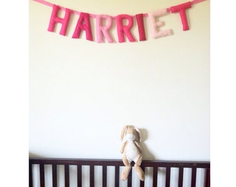girls felt name banner with love hearts