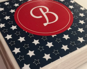 Patriotic Coaster Set- set of 4 ceramic coasters perfect for holiday parties  Stars and Stripes  monogrammed for personlization