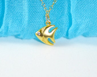 Gold fish necklace, Summer necklace, Fish necklace, Tiny fish necklace, Animal necklace, Fish jewelry, Animal jewelry, Beach necklace
