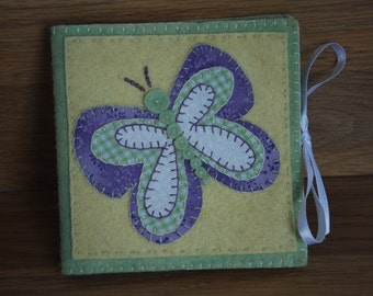 Needle Case, Embroidered Needle Case, Butterfly/Flower Pins and Needles Case, Butterfly Needlecase, Felt Needle book, sewing needle case