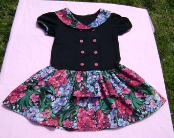 evy girls vintage dress size 6x made in united states black with floral trim collar and skirt part of dress drop waist short sleeve